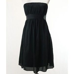 Gap black strapless cotton silk blend dress